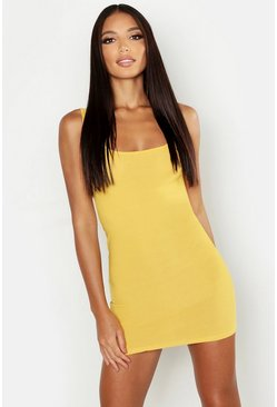 Mustard yellow Basic Square Neck Bodycon Mini Dress