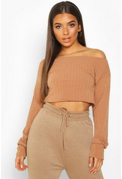 Mocha Extreme Sleeve Off The Shoulder Rib Slouch Crop