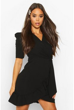 Black Puff Sleeve Wrap Ruffle Tea Dress