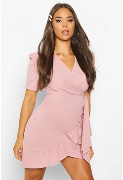 Blush pink Puff Sleeve Wrap Ruffle Tea Dress