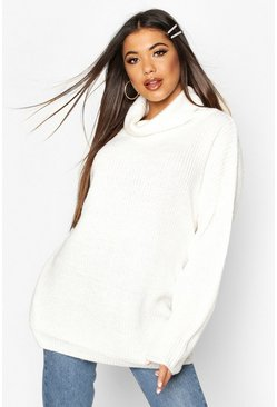 Cream white Roll Neck Oversized Jumper