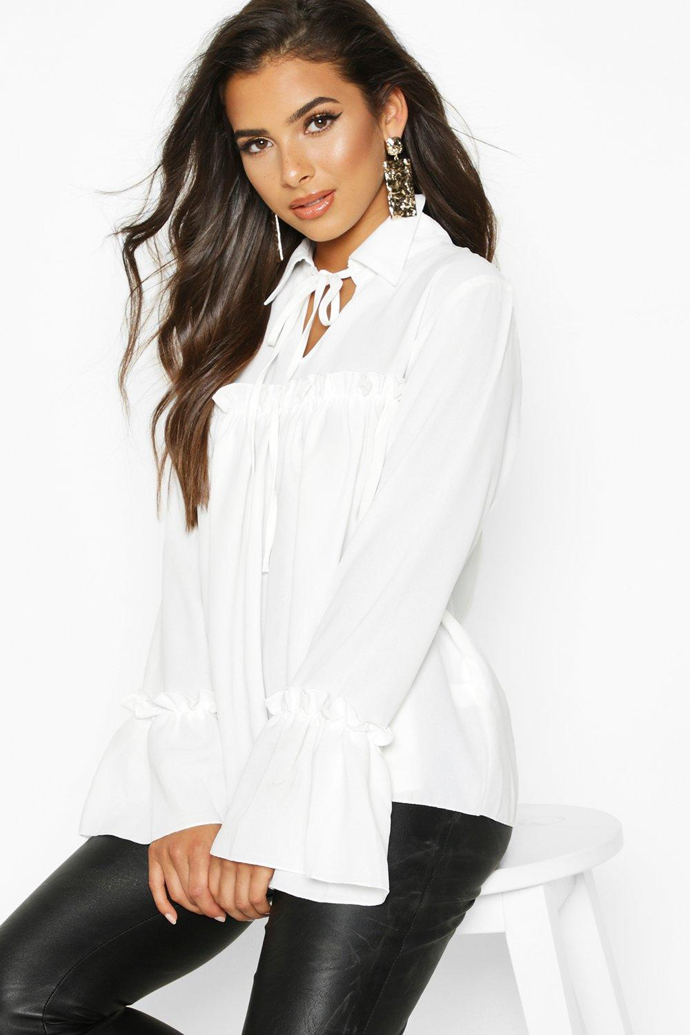 TOPS Tie Front Ruffle Detail Woven Smock Top