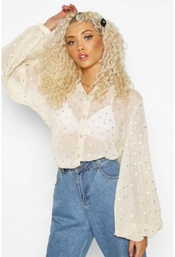 Nude Spot Balloon Sleeve Shirt