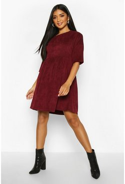 Berry red Cord Smock Dress