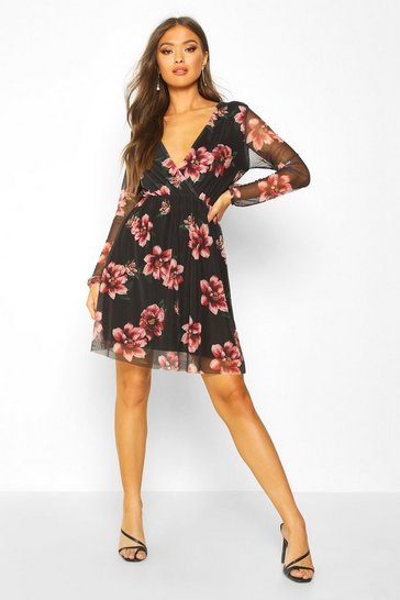 Black Floral Mesh Sleeve Skater Dress