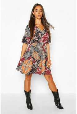 Black Paisley Print Flute Sleeve Skater Dress