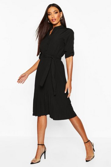 Black Pleated Collarless Midi Skater Dress