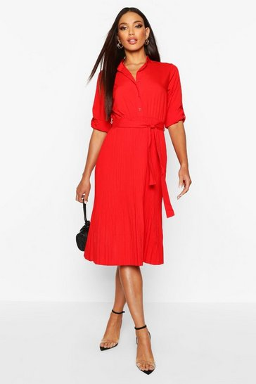 Red Pleated Collarless Midi Skater Dress