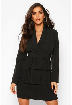 Black Belted Pleated Detail Blazer Dress