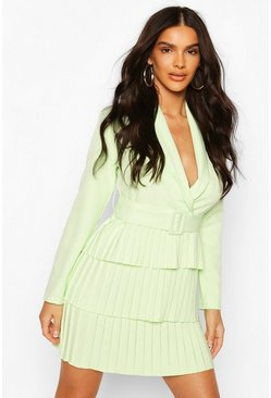 Washed lime yellow Belted Pleated Detail Blazer Dress