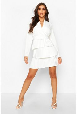 White Belted Pleated Detail Blazer Dress