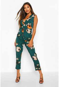 Green Large Floral Wrap Jumpsuit