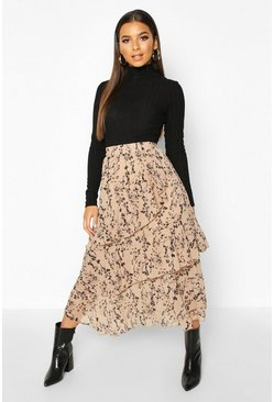 Nude Mono Floral Layered Midi Skirt