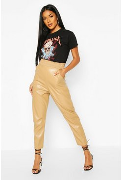 Sand beige Leather Look Paperbag Waist Skinny Trouser