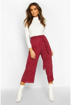 Berry Belted Woven Polka Dot Culottes