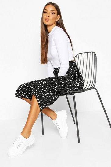 Black Belted Woven Polka Dot Culottes