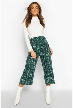 Belted Woven Polka Dot Culottes