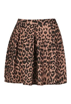 Tan Leopard Pleated Tennis Skirt
