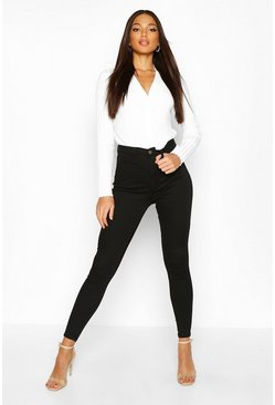 Zwart black Shaping Stretch Skinny jeans met hoge taille