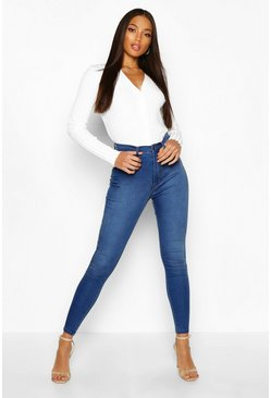 Middenblauw blue Shaping Stretch Skinny jeans met hoge taille