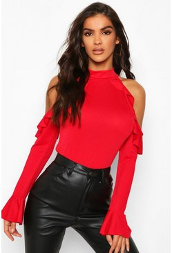 Red Crepe Ruffle Cold Shoulder Top