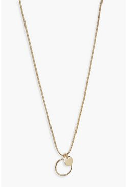 Gold metallic Double Mini Circle Pendant Necklace