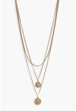 Gold metallic Simple Coin Layered Necklace