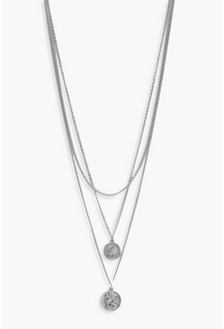 Silver Simple Coin Layered Necklace