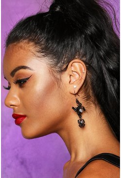 Black Halloween Spider Diamante Drop Earrings