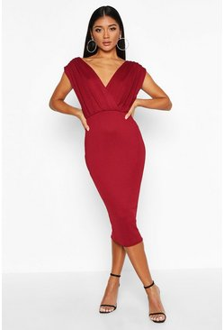 Berry red Gathered Wrap Top Bodycon Midi Dress