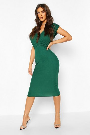 Bottle green green Gathered Wrap Top Bodycon Midi Dress