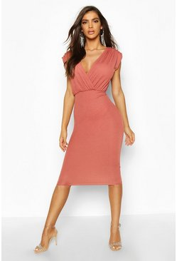Rose pink Gathered Wrap Top Bodycon Midi Dress