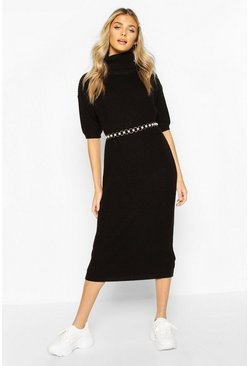 Black Roll Neck Midi Dress