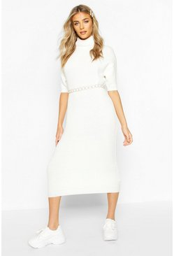 Cream white Turtleneck Midi Dress