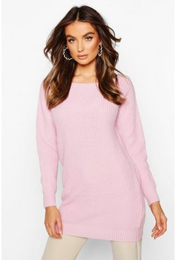 Pastel pink pink Slash Neck Fisherman Jumper
