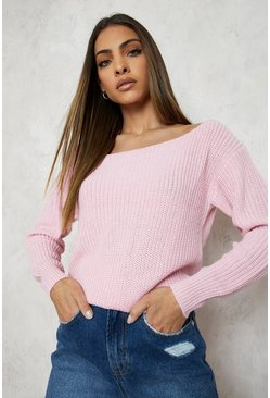 Pastel pink pink Slash Neck Crop Fisherman Sweater