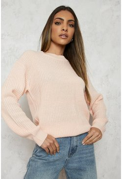 Blush pink Fisherman Crew Neck Jumper
