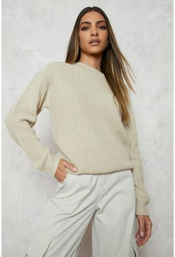 Ecru white Fisherman Crew Neck Sweater