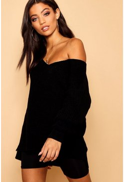 Black Oversized Fisherman V Neck Jumper