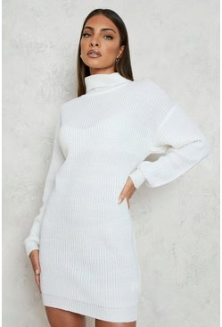 Cream white Roll Neck Fisherman Jumper Dress