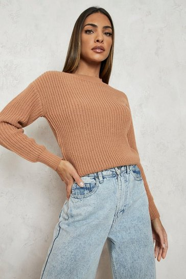 Biscuit beige Crop Fisherman Jumper