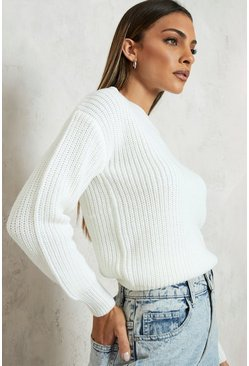 Cream white Crop Fisherman Jumper