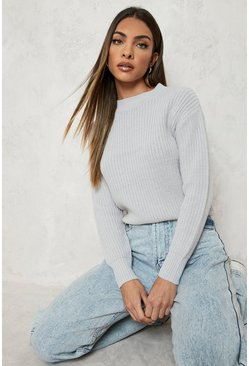 Silver Crop Fisherman Jumper