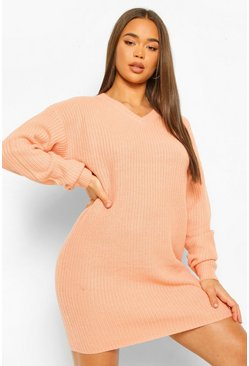 Apricot Fisherman V Neck Jumper Dress