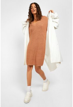 Biscuit beige Fisherman V Neck Jumper Dress