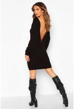 Black V Back Fisherman Oversized Jumper Dress