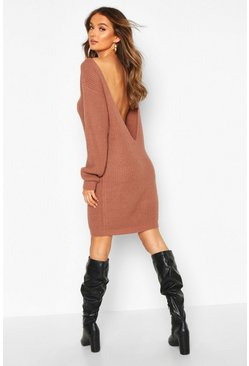Mocha beige V Back Fisherman Oversized Sweater Dress