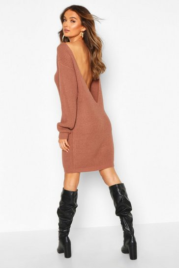 Mocha beige V Back Fisherman Oversized Jumper Dress