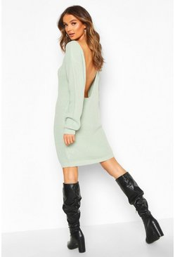 Sage green V Back Fisherman Oversized Sweater Dress