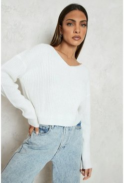 Cream white Cropped Fisherman V Neck Sweater